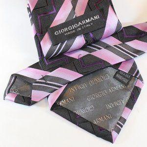 Giorgio Armani Tall Tie Black White & Purple Tones